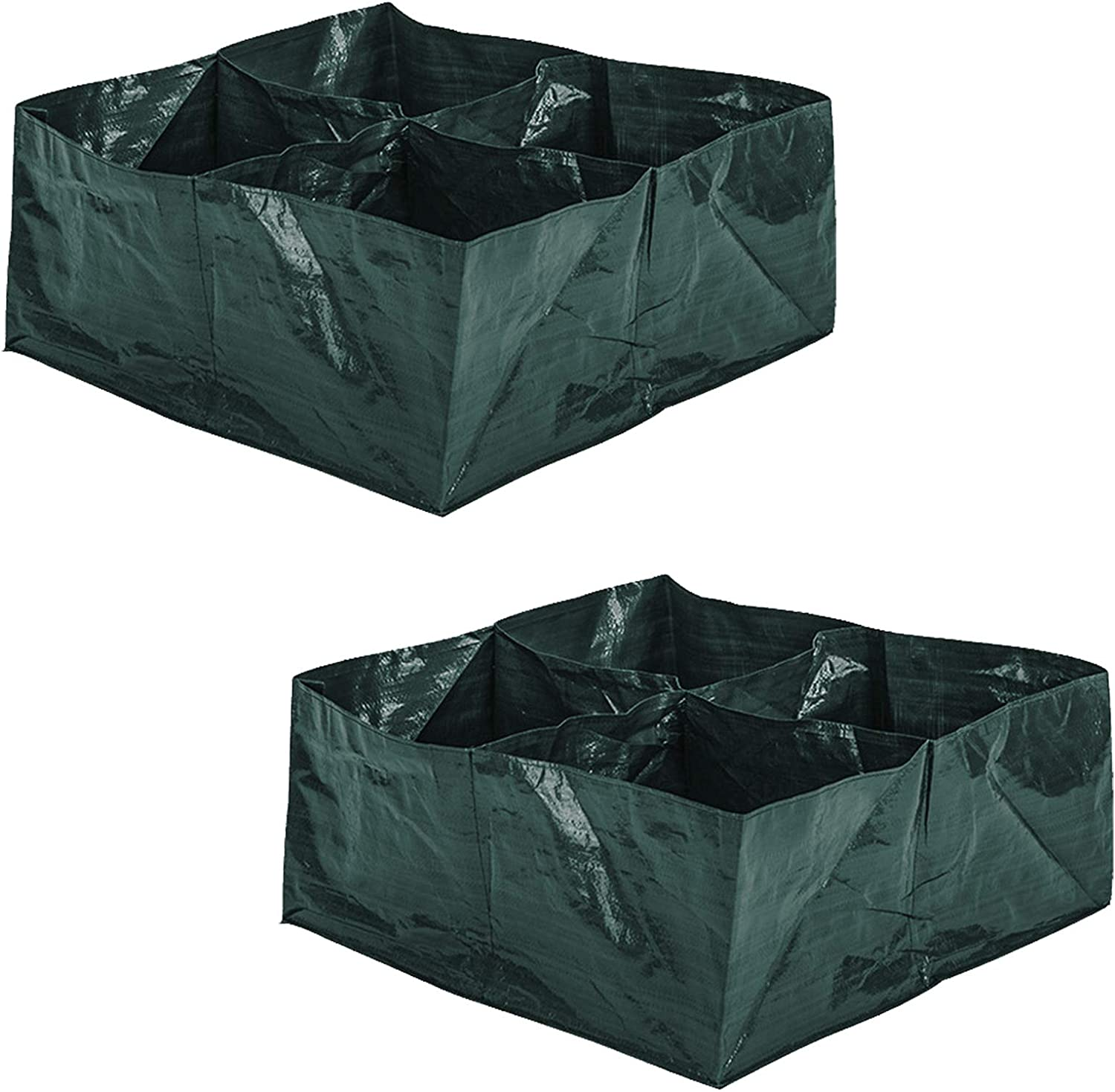 ZeeDix 2 Pack Fabric Raised Garden Bed- 4 Divided Grids Square Raised Garden Planter Grow Pot for Outdoor Herb Flower Vegetable Plants