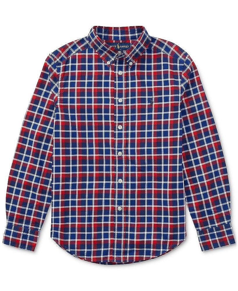 0191bc698 Amazon.com: RALPH LAUREN Boys Plaid Twill Cotton Shirt, Red Multi (S(8)):  Clothing