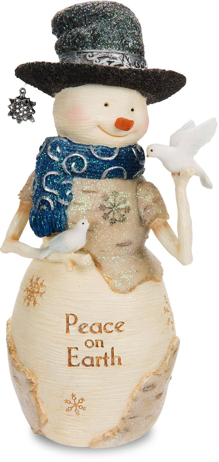 The Birchhearts Pavilion Gift Company Peace on Earth Snowman Figurine Holding Doves, 7, White 7 81131