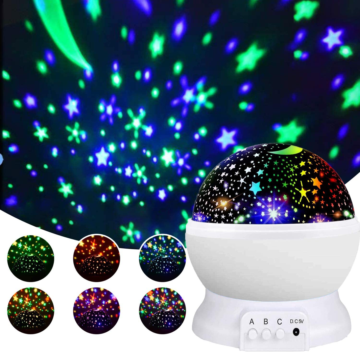 Homcasito Night Light for Kids Star Projector Baby Night Light 360 Degree Rotating Best Gifts for 3-12 Year Old Boys Girls