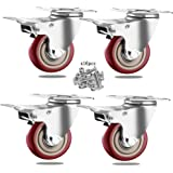 """3"""" Caster Wheels Set of 4 with Safety Dual Locking, Corfich Swivel Plate Castors No Noise and Floor Protection, Heavy Duty 10"""