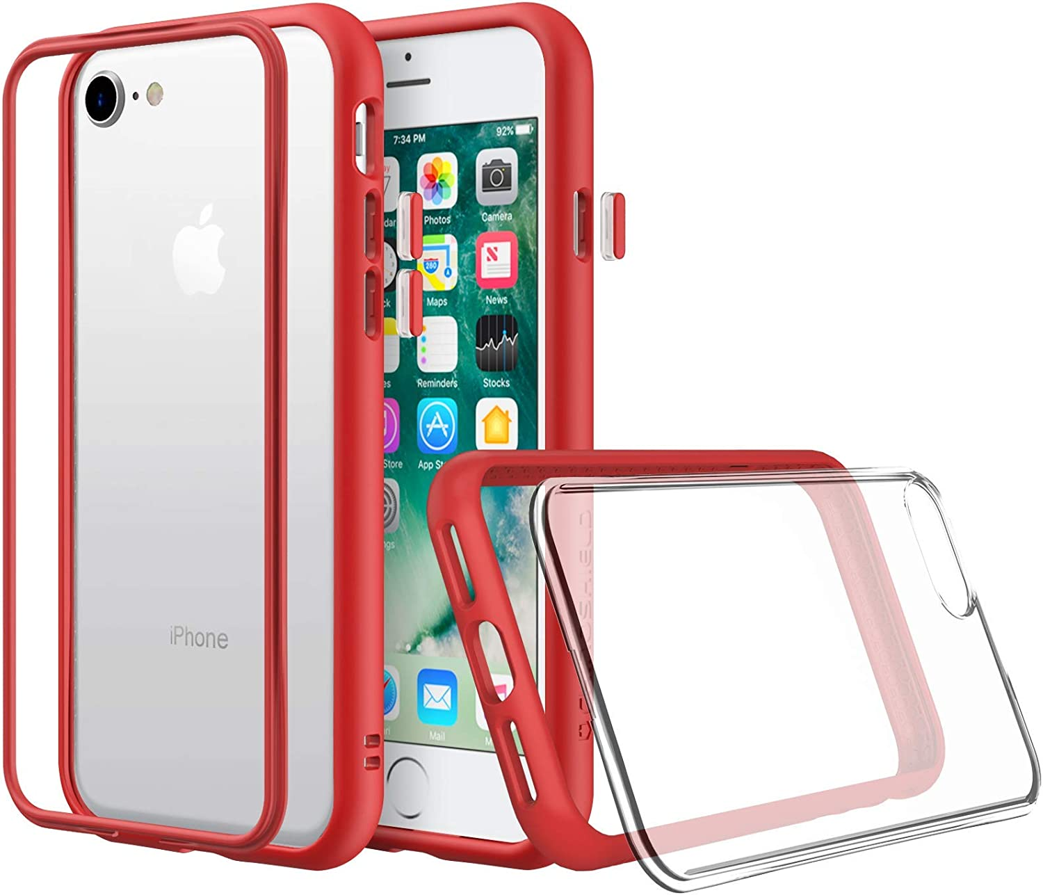 RhinoShield Modular Case Compatible with [iPhone SE2 / SE (2020) / 8/7] | Mod NX - Customizable Shock Absorbent Heavy Duty Protective Cover - Shockproof Red Bumper with Clear Back