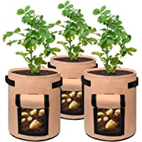 3 pcs Potato Grow Bag, 7 Gallon Aeration Waterproof Fabric Sweet Potato Planter, Velcro Window Vegetable Peanut Growing Box Bucket Pot for Nursery Garden