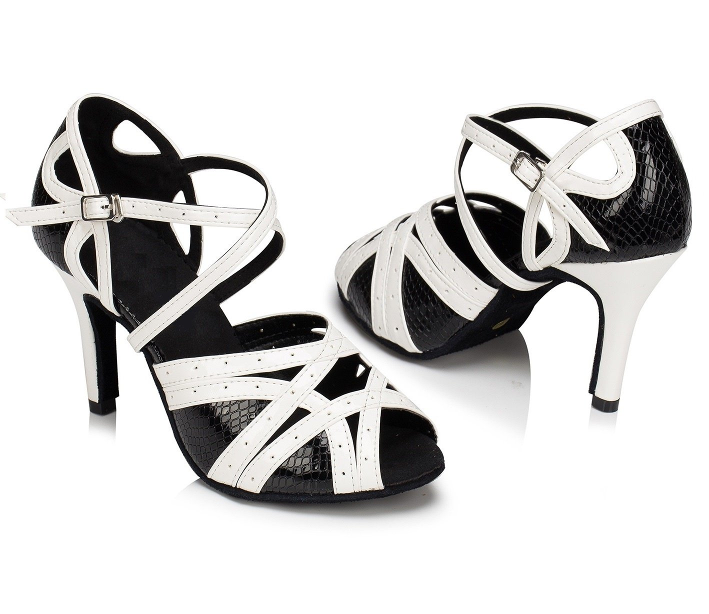 KAI-ROAD Womens Black Latin Dance Shoes Ballroom Dancing Heels 8.5cm High Heels Suede Sole Salsa Shoes (9.5 B(M) US)