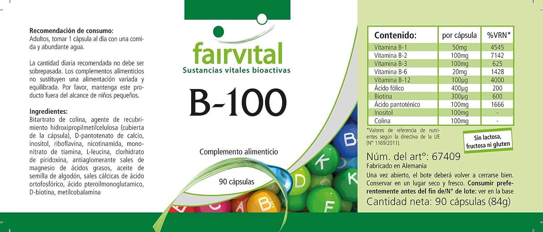 B-100 - GRANEL durante 3 meses - VEGAN - ALTA DOSIS - 90 cápsulas - complejo de la vitamina B con colina e inositol: Amazon.es: Salud y cuidado personal