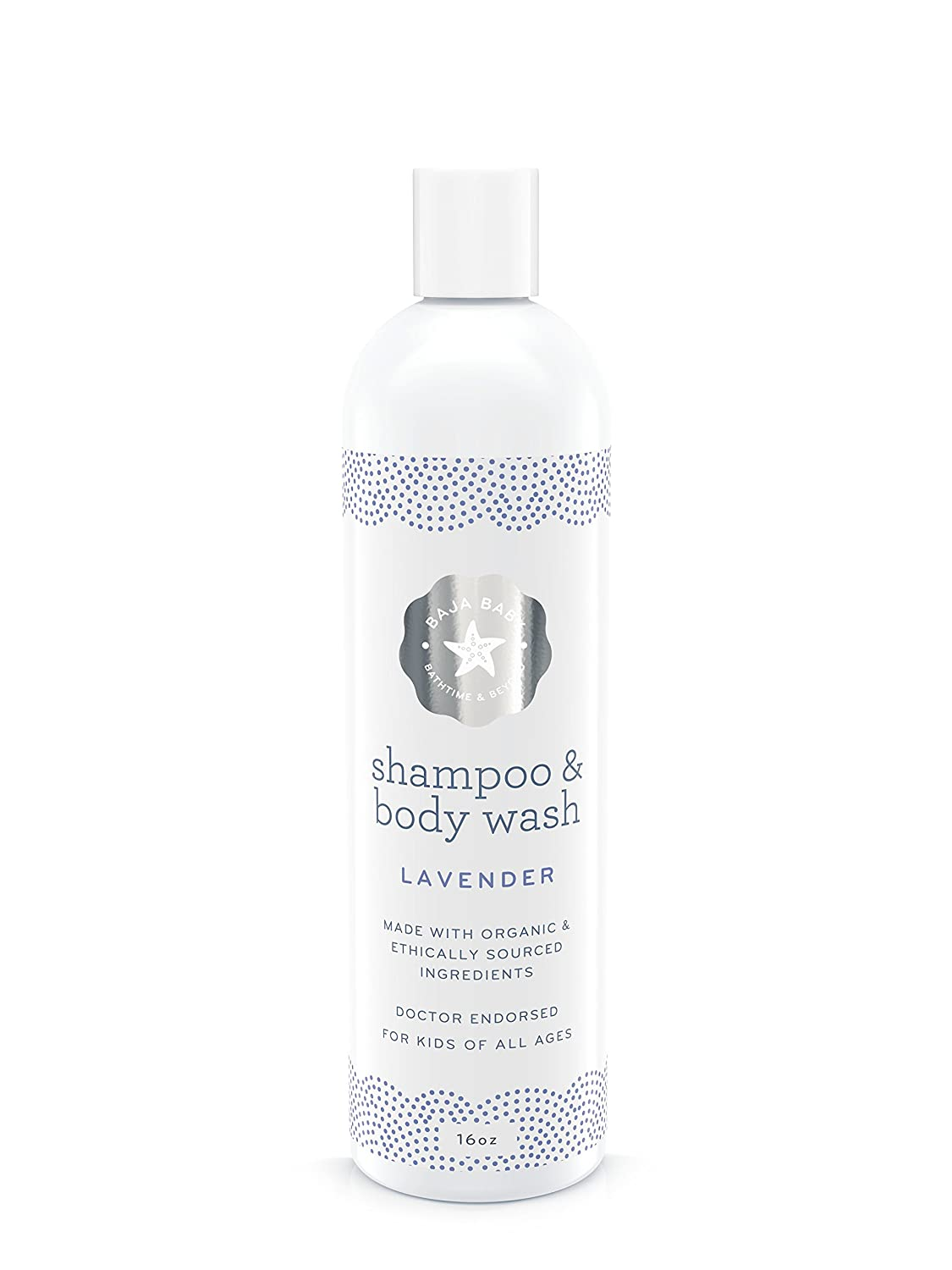 Baja Baby Lavender Shampoo and Body Wash - EWG VERIFIED - Family Size - 16 fl oz - Free of Sulphates, Parabens and Phosphates - Dr Approved - 100%! PrimePotions 1266
