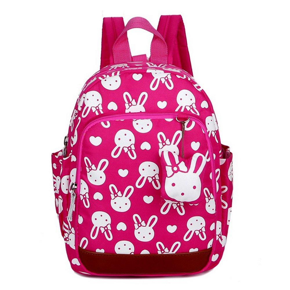 CUILEEキッズスクールバッグセーフティハーネス付きかわいいベビーバックパック手入れ用託児所用ベルト、ローズレッド   B074XB5ZWG