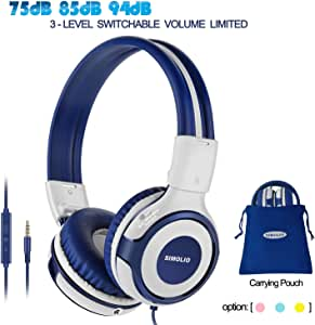 SIMOLIO Wired Headphones Teens Children Girls Boys, Adjustable 94dB,85dB,75dB Volume Limited, Durable Headphone w/Mic for School/PC/Cellphone, On-Ear Headphone Kids with Share Port 3.5mm Jack (Grey)