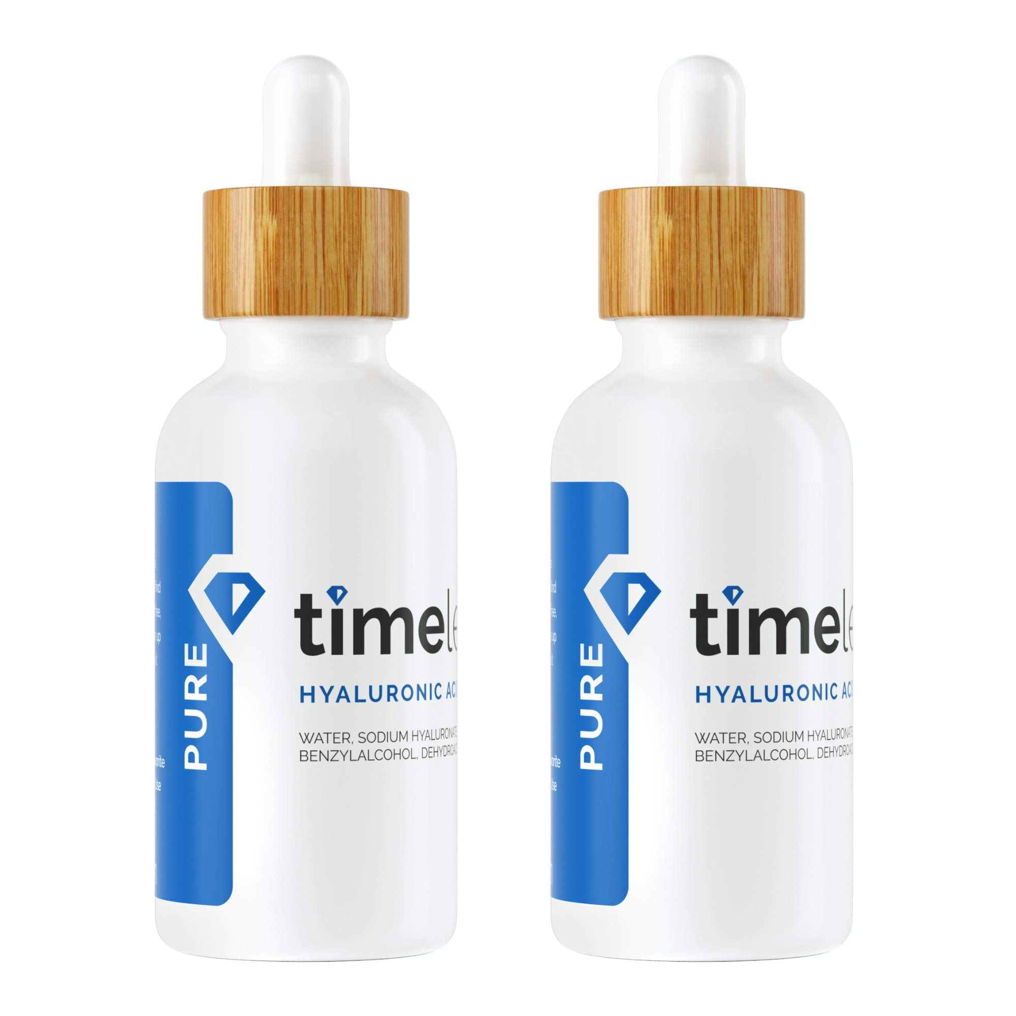 Timeless Skin Care Hyaluronic Acid 100% Pure Serum - 2 oz, 2 Pack - Powerful Formula to Rehydrate Skin & Boost Moisture Levels + Relieves Appearance of Skin Tightness - Recommended for All Skin Types