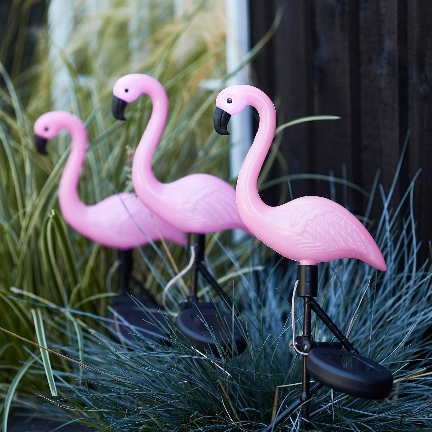 Lights4fun, Inc. Set of 3 Pink Flamingo Solar Powered LED Outdoor Waterproof Garden Pathway Landscape Lights