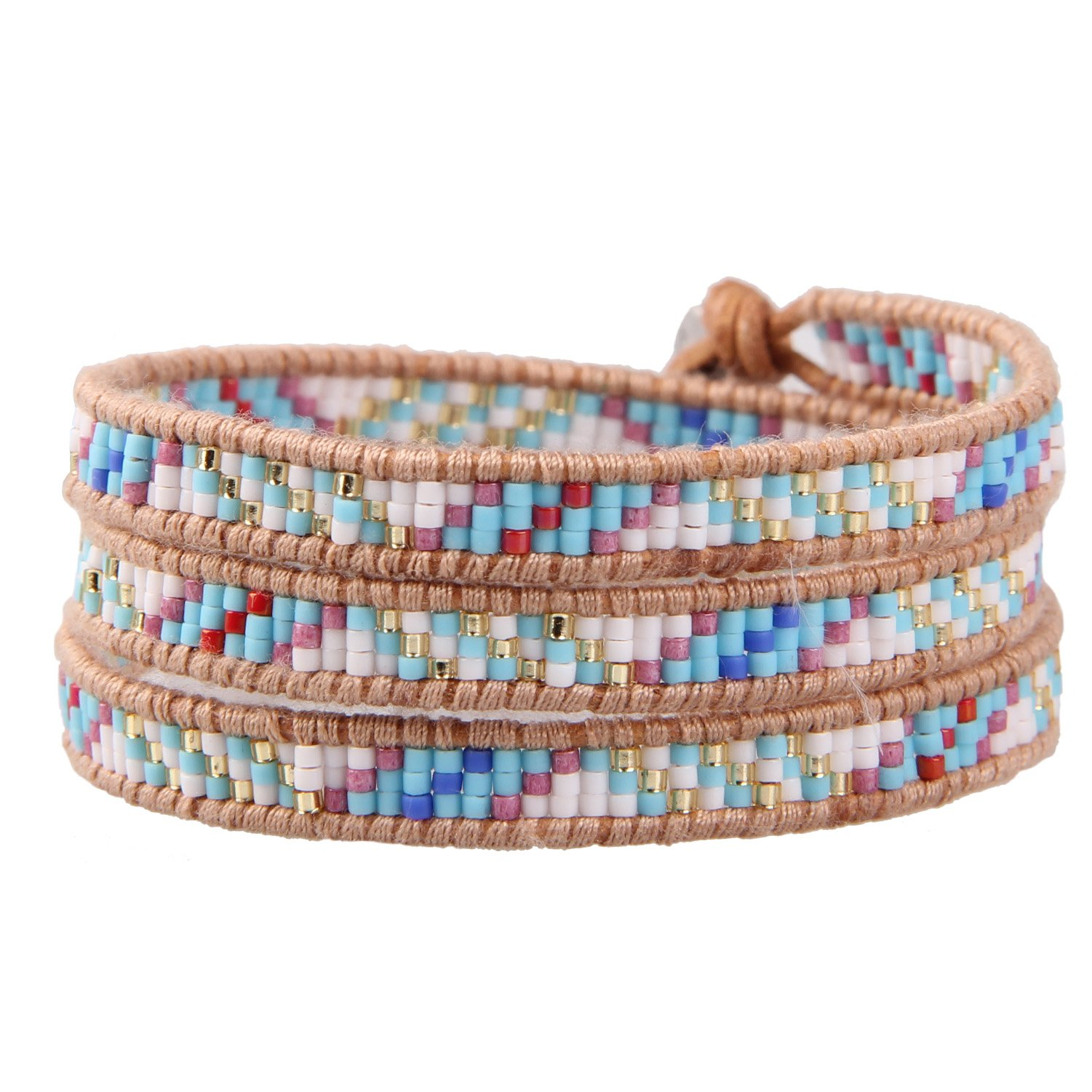 KELITCH Powder Coral Beads Original Leather Charm 3 Wrap Bracelet Handmade New Top Stretch Bracelets (Blue)