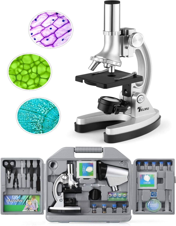 TELMU Microscopio de bolsillo para niños y principiantes, pequeño y brillante, set de accesorios de 70 piezas, 300X-600X-1200X, con iluminación LED y cuchillas, maleta y preparación incluidos