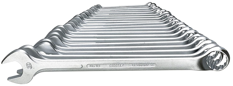 GEDORE 1 B-0115 Ring-Maulschlüssel-Satz, gekröpft, geschmiedet, 10° abgewinkelt mit UD-Profil, DIN 3113 Form B, matt verchromt, 15-teilig, 6-32 mm Gedore Werkzeugfabrik GmbH & Co. KG