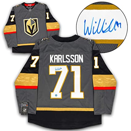 df2bc16d9b2 William Karlsson Vegas Golden Knights Autographed Autograph Fanatics  Replica Hockey Jersey - Certificate of Authenticity Included at Amazon s  Sports ...