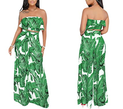 a863a4f3c008 Amazon.com  YSJERA Women s 2 Pieces Outfit Floral Sleeveless Tube Top Palazzo  Long Pants High Waist Jumpsuits  Clothing