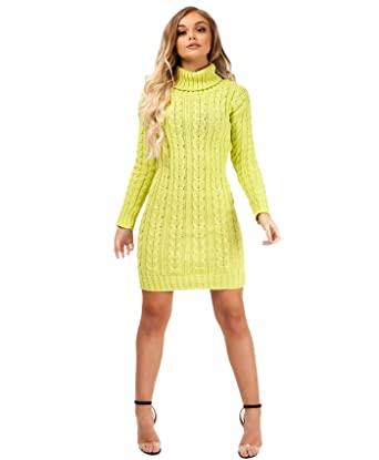 New Ladies Chunky Cable Knitted Polo Roll Neck Long Sleeve Jumper Mini Dress