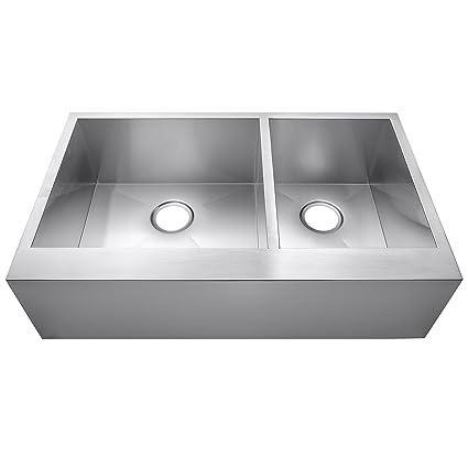 AKDY 33u0026quot; X 20u0026quot; X 9u0026quot; Undermount Apron Double Bowls Handmade Stainless  Steel