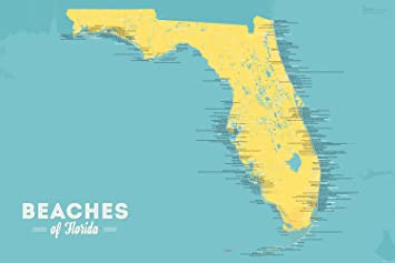 Florida Beaches Map.Amazon Com Florida Beaches Map 24x36 Poster Marigold Turquoise