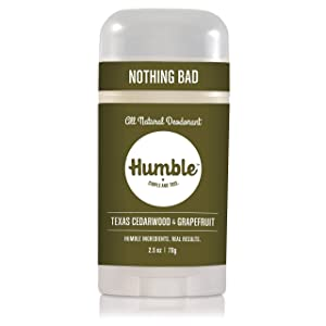 Humble Brands All Natural Aluminum Free Deodorant Stick for Women and Men, Lasts All Day, Safe, and Certified Cruelty Free, Texas Cedarwood and Grapefruit, Pack of 1