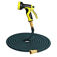 Expandable Garden Hose, 50ft Expanding Extra Strength Stretch Fabric Lightweight Flexible Water Hose with 9 Pattern Spray Nozzle and 3/4 Brass Connectors Heavy Duty for Car Garden Pet – [Non Kink]