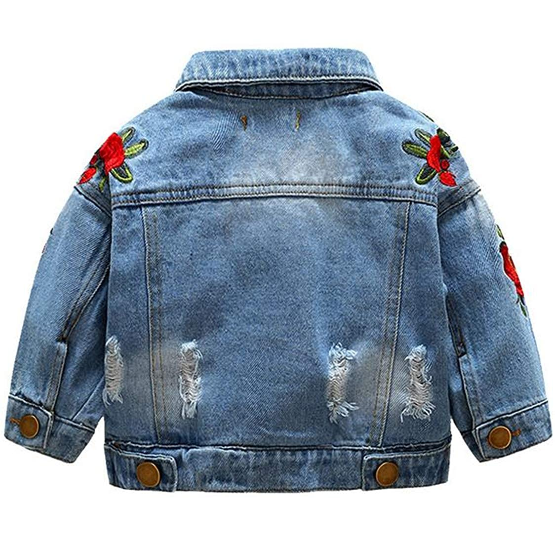 Cromoncent Girl Casual Washed Faded Embroidery Jean Coat Denim Jacket
