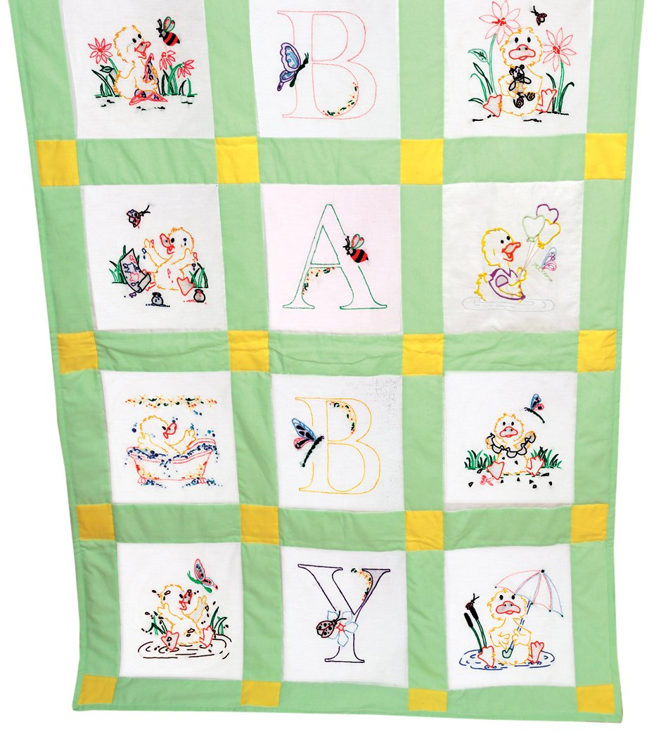 Fairway 92378 92320 Baby Quilt Block, Duck Design, Twelve Blocks, White Notions