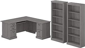 Bush Furniture Saratoga L Shaped Computer Desk and Bookcase Set, Modern Gray
