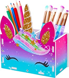 MHJY Unicorn Pencil Holder Organizer Makeup Brush Holder, 2 Slots Cosmetic Pen Desktop Stationery Organizer for Office,Classroom,Home,Magenta-Blue