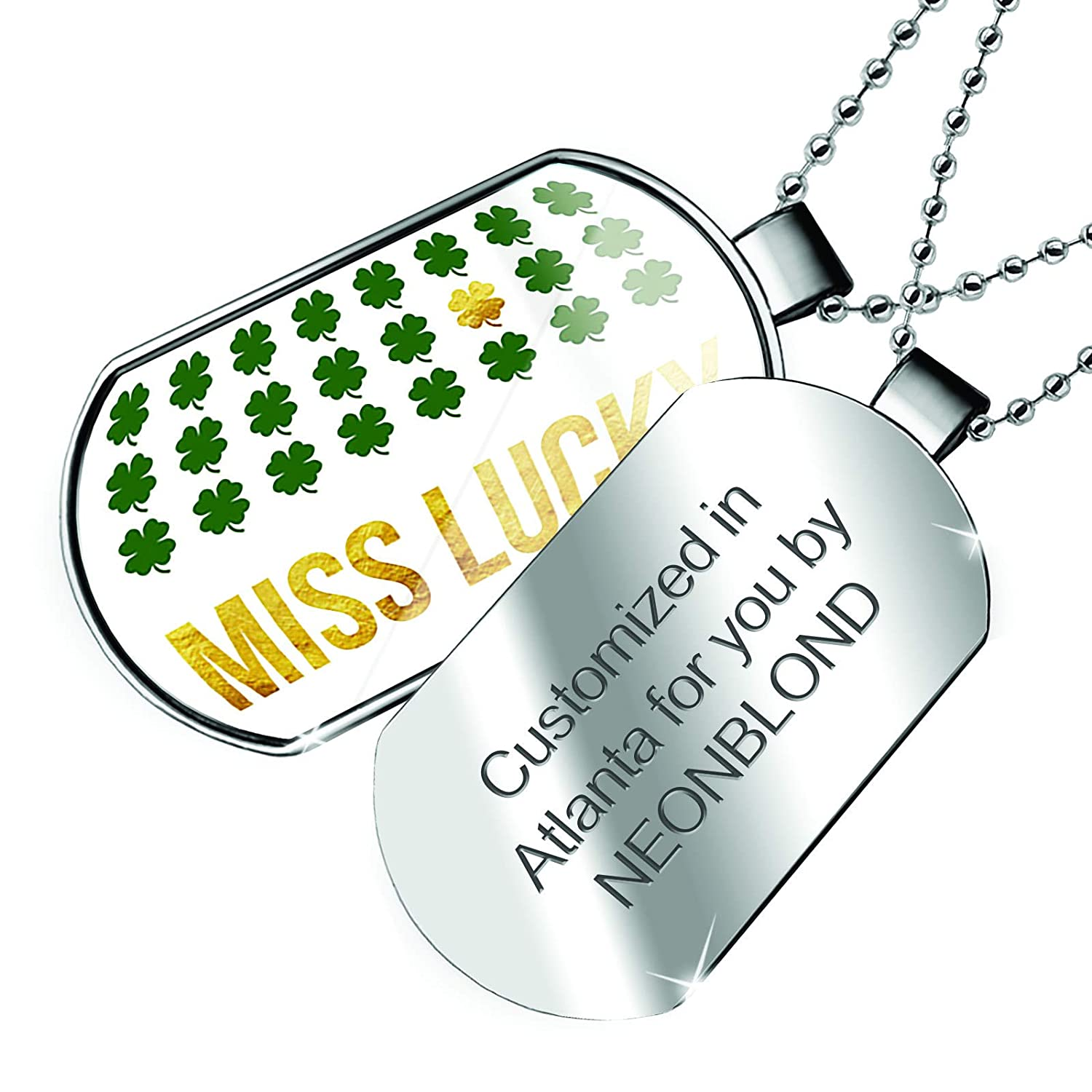 Patricks Day Gold Shamrock Dogtag Necklace NEONBLOND Personalized Name Engraved Miss Lucky St
