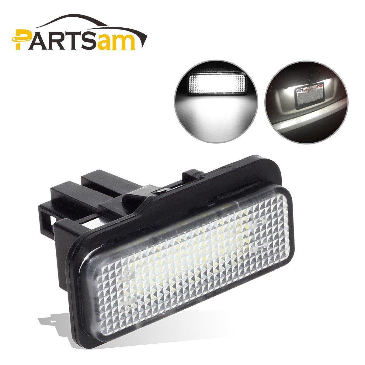 Partsam 2pcs White 6000K 18-SMD 12V LED License Plate Lights Lamp Set Assemblies for Mercedes-Benz C-Class W203/E-Class W211/S211/CLS-Class W219/SLK-Class R171