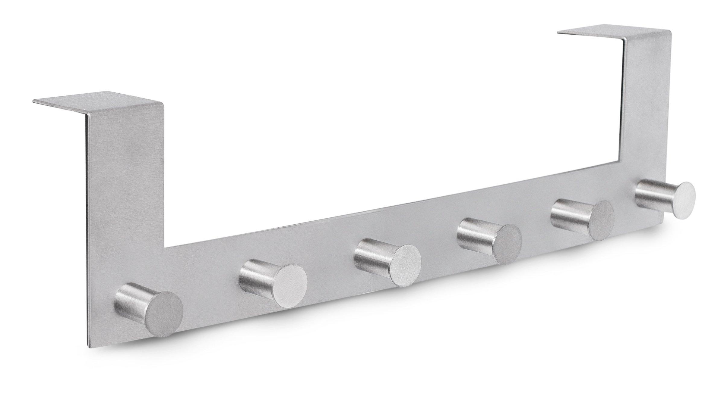 Internet's Best Over the Door Contemporary Hook Rack | 6 Hooks | Stainless Steel Hanging Hook Rail | Bathroom Towel Rail | Outdoor or Indoor