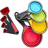 Collapsible Measuring Cups & Spoons Set for Dry & Liquid Ingredients, Diet Measuring Cups Perfect for Weight Watchers & Weight Loss, Bright, Fun & Easy To Read in Metric & US by YumYum Utensils