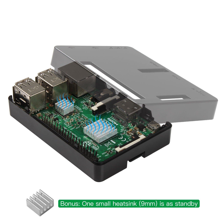 2 Mod/èle B 3B Plus Boitier avec Ventilateur Carte Raspberry Pi non incluse Pour Raspberry Pi 3 B+ Dissipateur 3 pi/èces Compatible avec Raspberry Pi 3 Case pour 3B