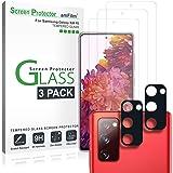amFilm Galaxy S20 FE Protector Pantalla y Protector de Lente de Cámara Trasera (3+2 Piezas) - Instalación Fácil Vidrio Crista