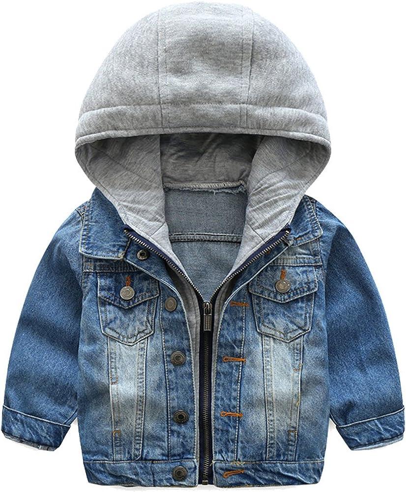 Odziezet Chaqueta Vaquera Niño Niña Demin Jacket con Capucha Abrigo Bebé Camisa 1-7 Años: Amazon.es: Ropa y accesorios