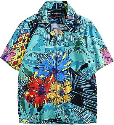BaronHong Camisa Hawaiana Hombre Manga Corta Flor Múltiples Colores Beach Holiday Top tee: Amazon.es: Ropa y accesorios