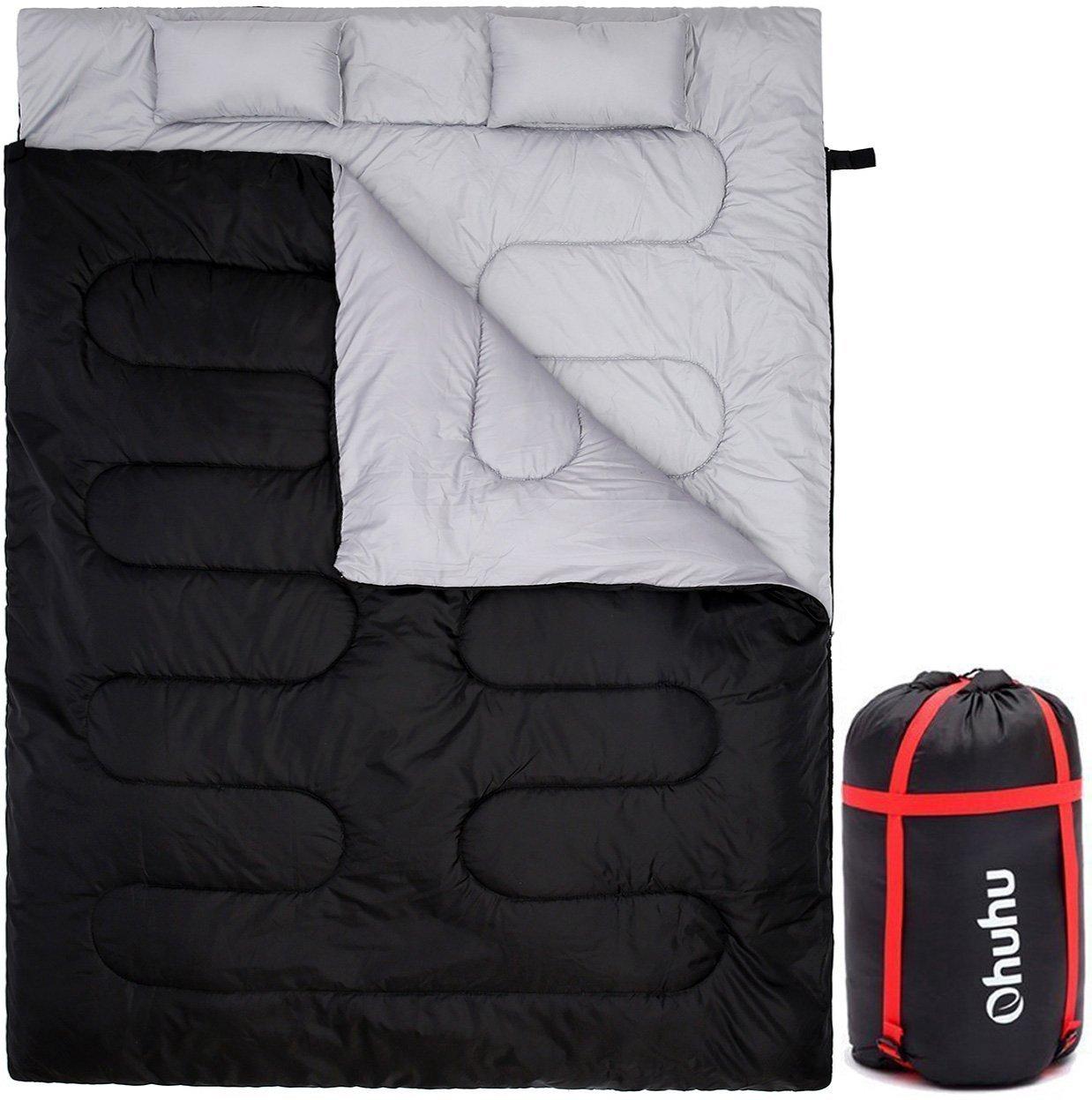 OhuhuダブルSleeping Bag with 2枕and aキャリーバッグキャンプ、バックパッキング、ハイキング B00T4BHYLY ブラック ブラック