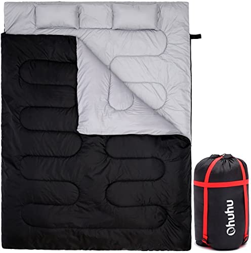 Double Sleeping Bag, Ohuhu 220 x 150cm Huge Double Sleeping Bag with 2 Free Pillows and a Carrying Bag, Four Double Zipper Pullers