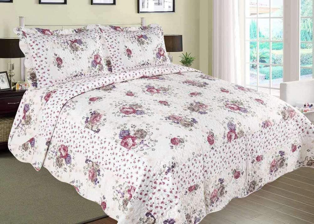 Colorful Floral Bloom Traditional Bedding Set 230 cm x 250 cm Vintage 3pc Patchwork Quilted Bedspread//Throw With 2 Pillow Shams Grey BM-9001, Double King