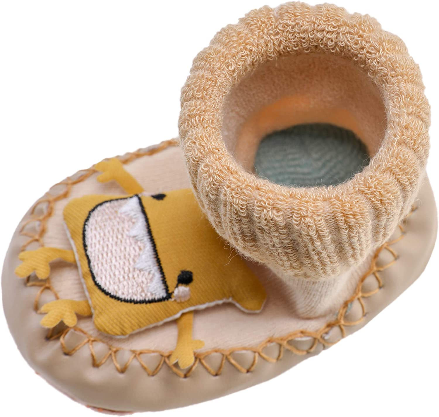 Baby Boy Girls Toddlers Cartoon Animal Moccasins Non-Skid Indoor Slipper Winter Warm Shoes Socks