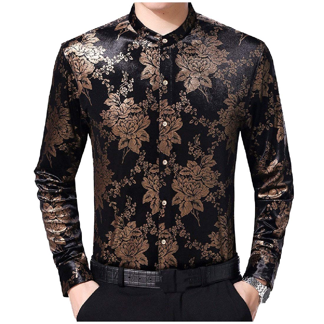 YUNY Mens Leisure Long-Sleeve Winter Floral Printed Stand Collar Work Shirt AS2 M