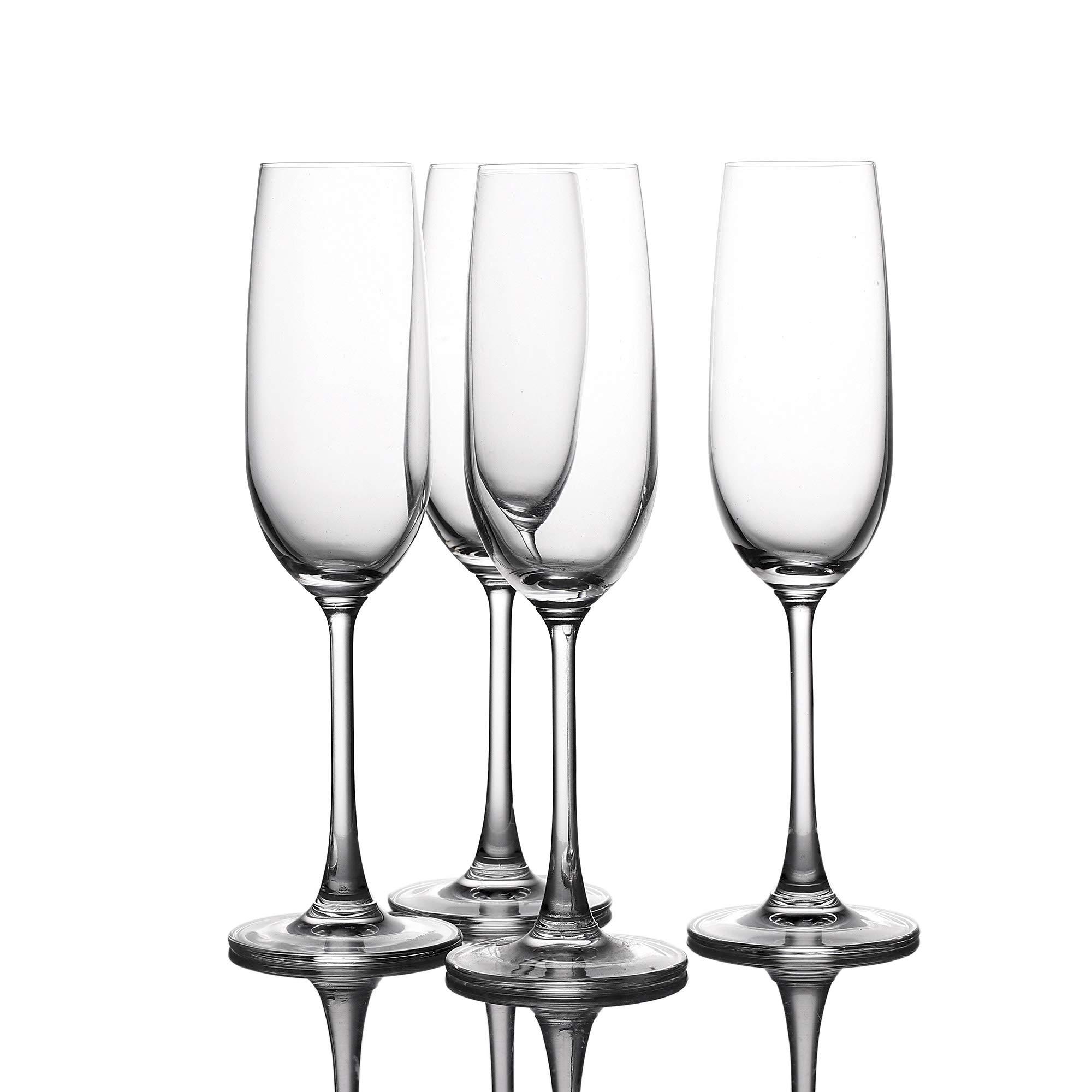 Crystal Champagne Flutes Glasses Set of 4 - Machine Made Glass 100% LEAD FREE 210ML/7FL OZ