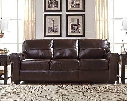 Gentil Ashley Furniture Signature Design   Canterelli Contemporary Plush Leather  Sofa   Chestnut Brown
