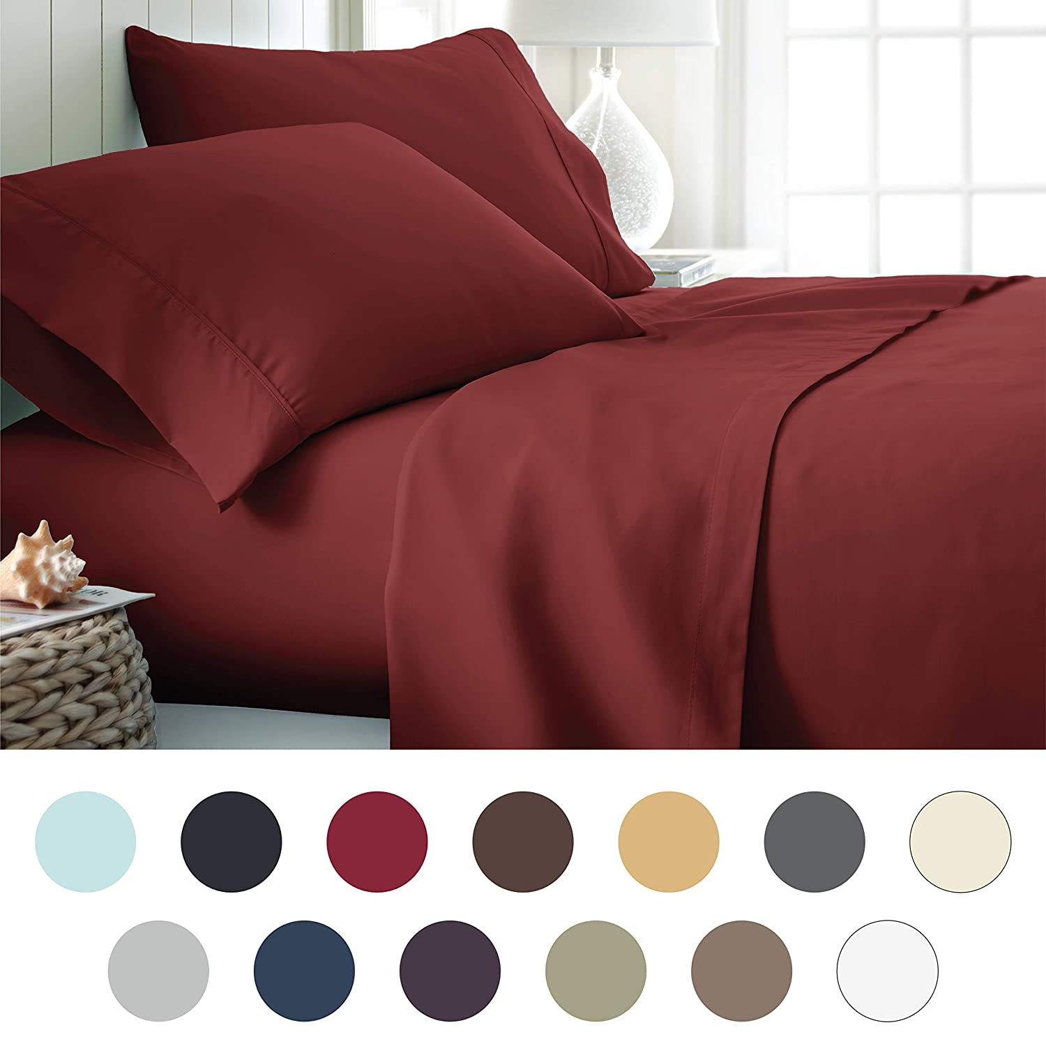 ienjoy Home Hotel Collection Luxury Soft Brushed Bed Sheet Set, Hypoallergenic, Deep Pocket, Twin X-Large, LGray BLL-4PC-TWINXL-LGRAY