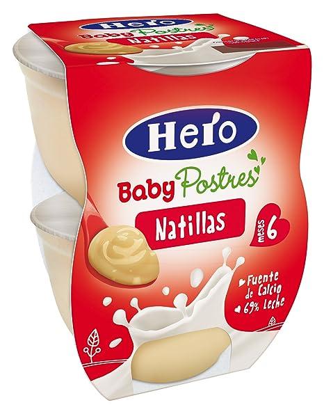 Hero Baby Postres Leche Natillas, Tarrina de Plástico - Paquete de 2 x 130 gr
