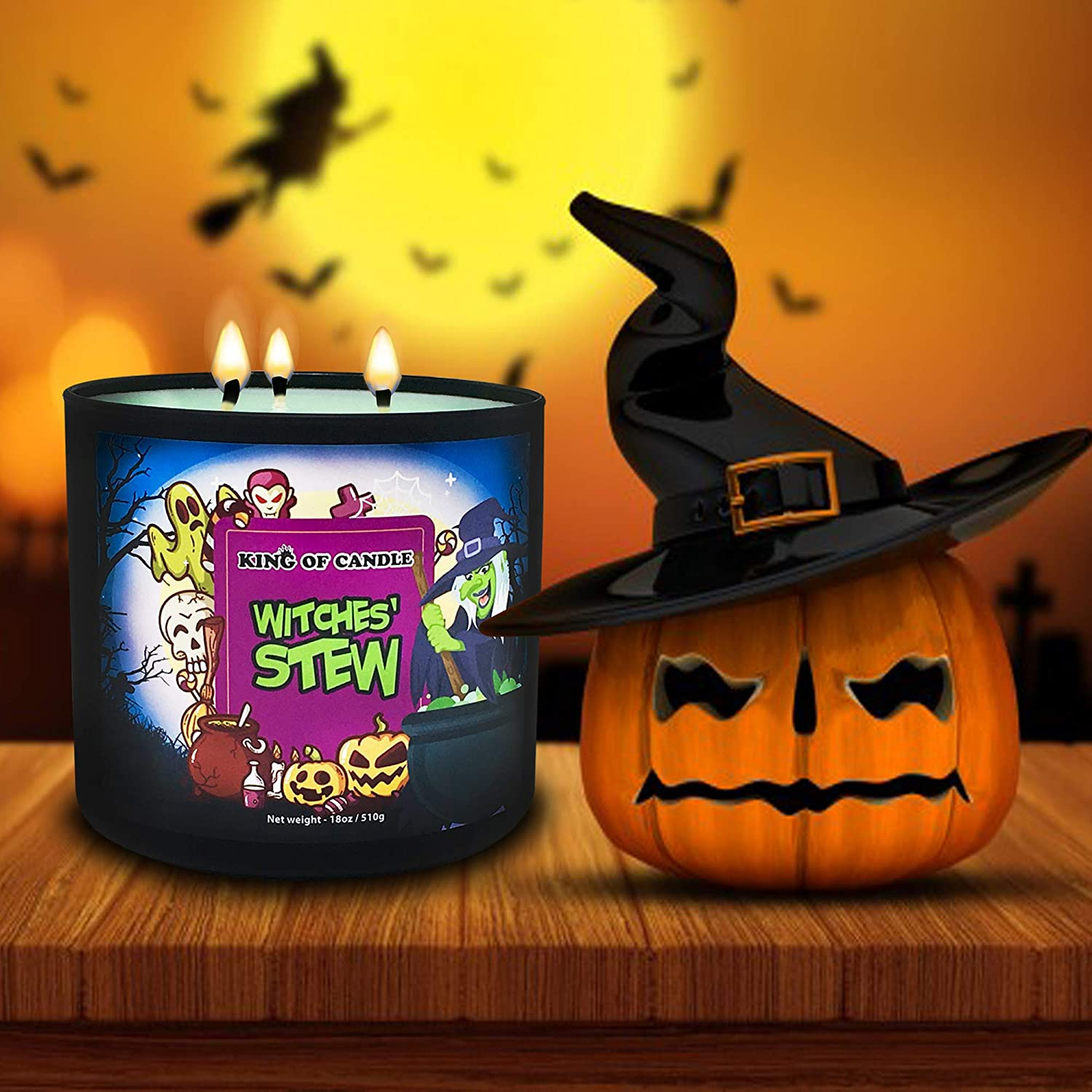 Witch Stew Soy Candle In Glass Container With Lid-Spooky Scary Candle-Halloween Candle-Skeleton Bone Candle-Gift Candle