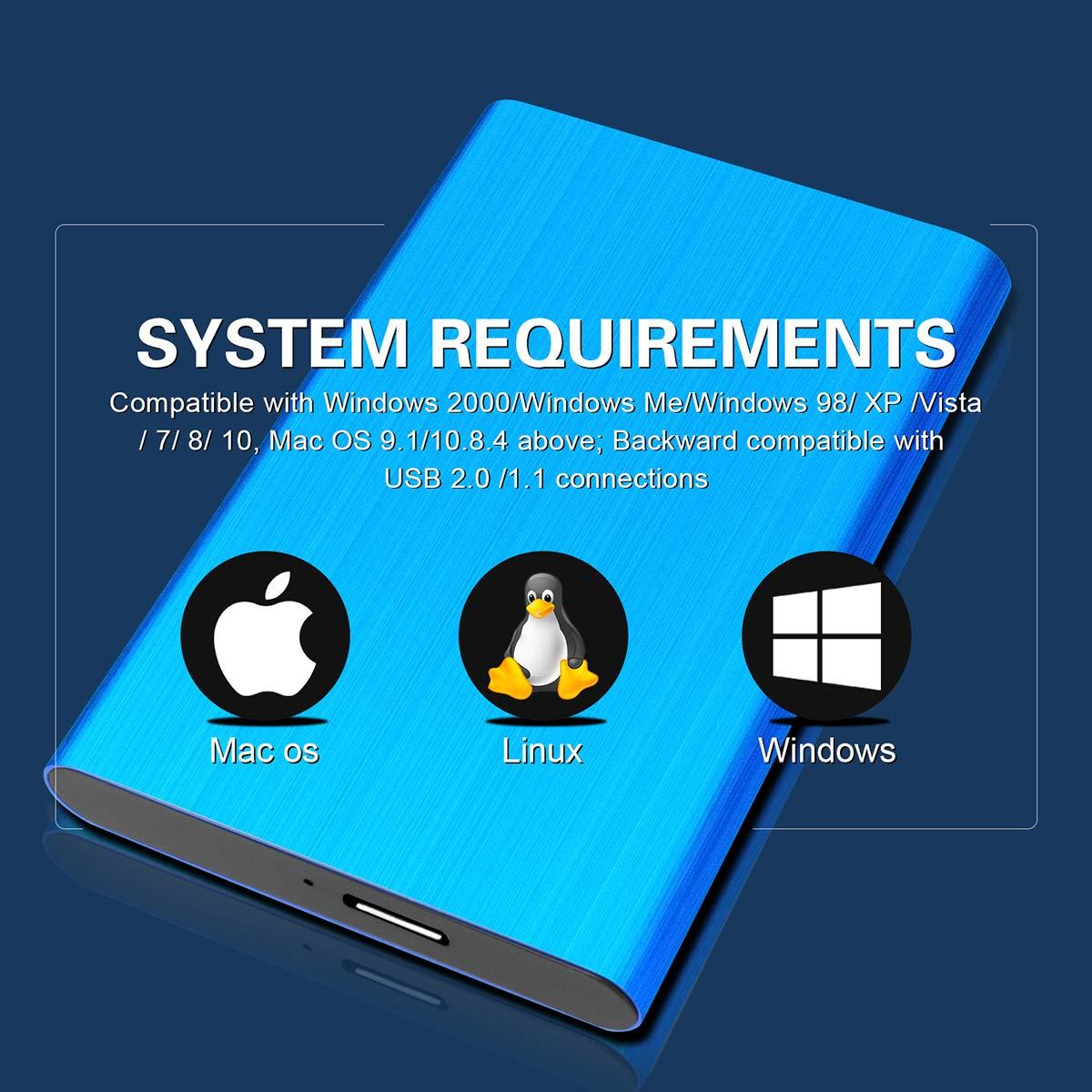 Disque Dur Externe 2to PS4 Desktop Laptop 2To,Bleu Chromebook Mac Disque Dur Externe USB3.0 pour PC MacBook Xbox 360 Xbox One