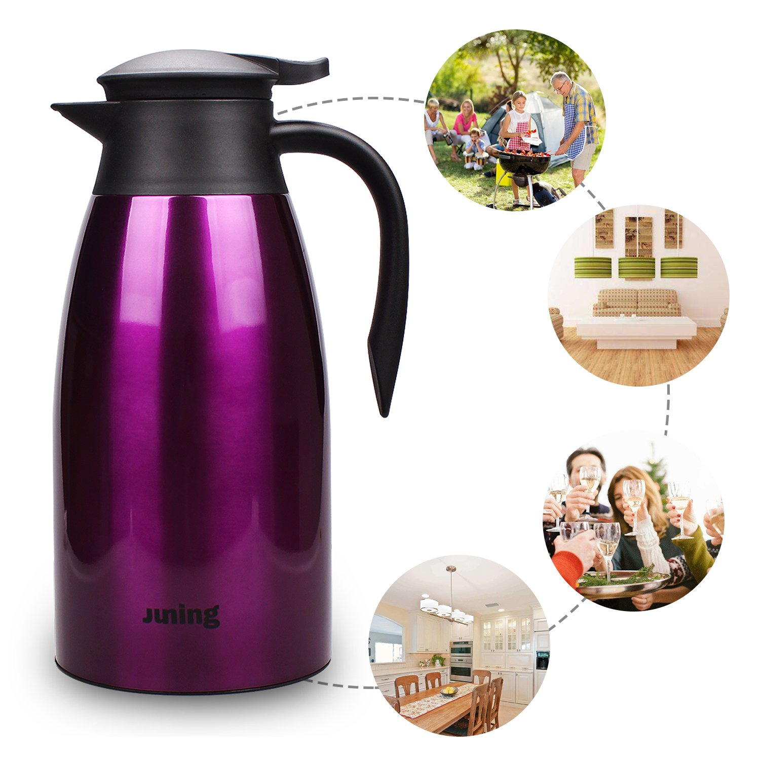 JUNING Stainless Steel Double Walled Vacuum Insulated Jug,Tea Water Coffee Jug//Insulation Pot//Cafetiere Jug by