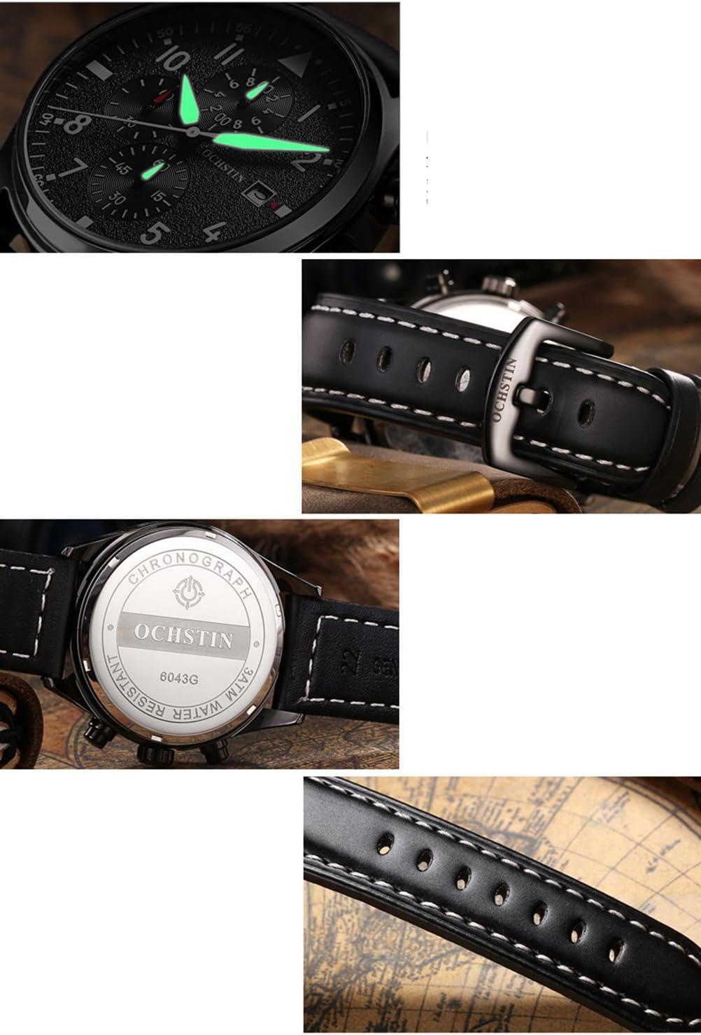 Montres-bracelet imperméable à quartz multifonction calendrier chronographe en cuir sangle alliage cadran occasionnel robe robe d'affaires Black