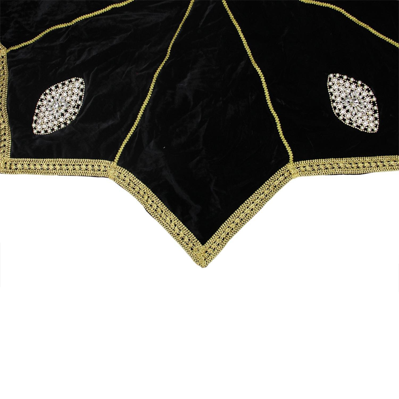 54'' Elegant Gold Trimmed Black Velveteen Jeweled Christmas Tree Skirt